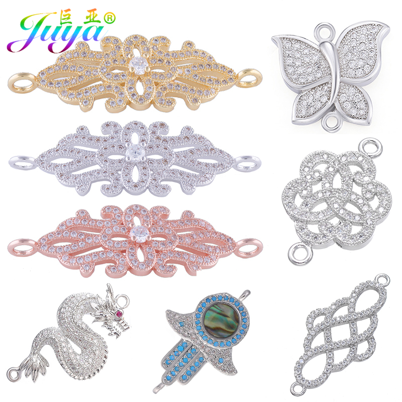 Juya DIY Jewelry Components Supplies Cubic Zirconia Dragon Flower Hamsa Connector Accessories For Women Earrings Bracelet Making