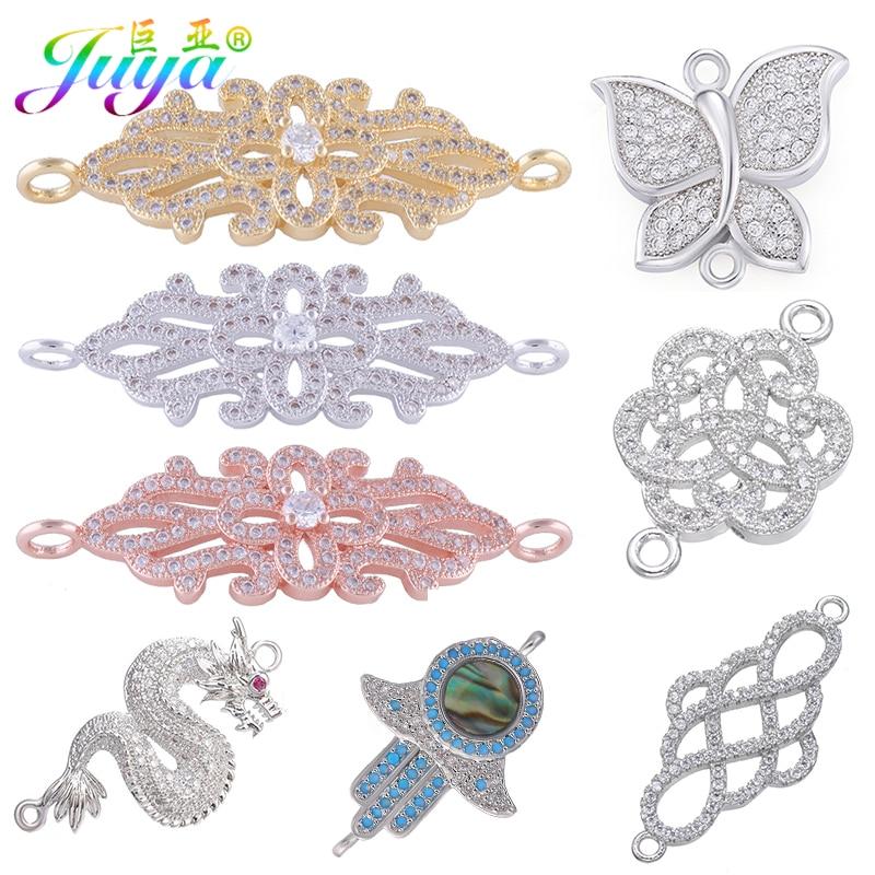 Juya DIY Jewelry Components Supplies Cubic Zirconia Dragon Flower Hamsa Connector Accessories For Women Earrings Bracelet Making