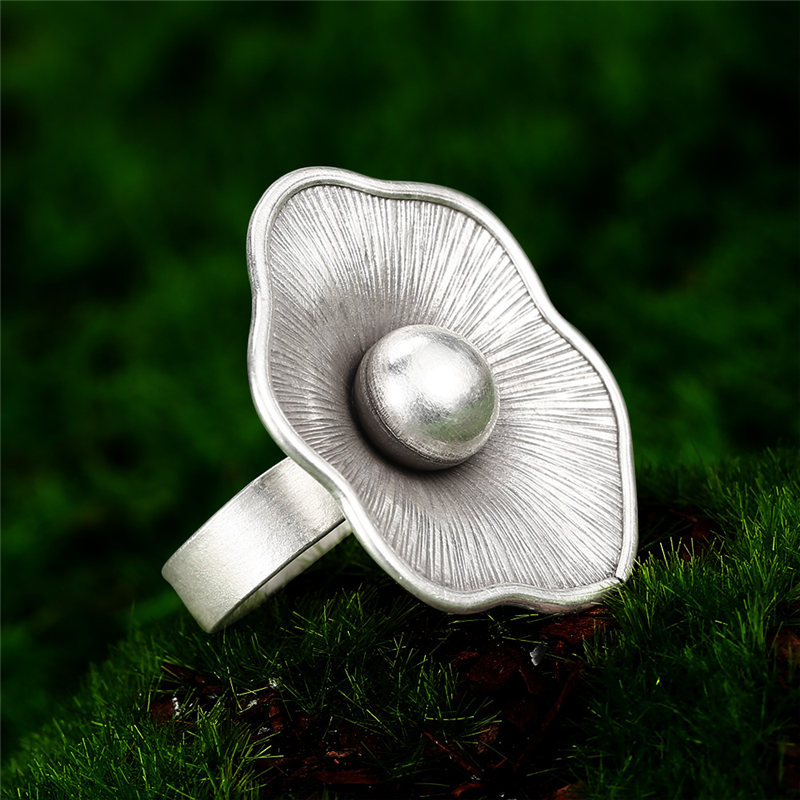 Image 4 - V.YA Vintage Jewelry S925 Sterling Silver Flower Ring For Women Adjustable Size Thai Silver Party JewelryRings