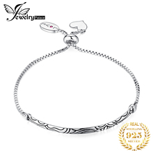 JewelryPalace Faithful Love Created Ruby Dangle Heart Vintage Pattern Engraved Bracelets 925 Sterling Silver Nice Gift For Women
