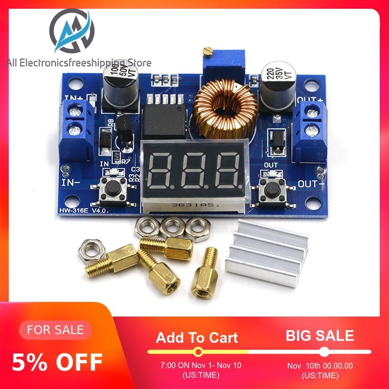XL4015 High Power 5A 75W DC-DC Adjustable Step-down Charger Module Step Down Buck Converter LED Driver With Red Voltmeter