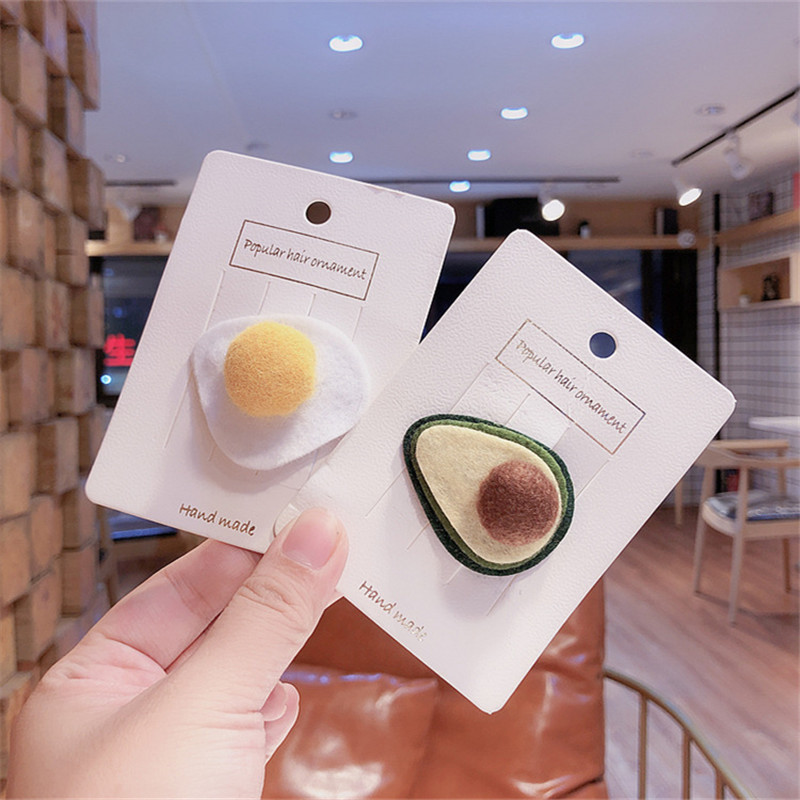 Free Shipping Fashion Children Felt Cloth Avocado/Egg Hairpins Girl's Cute Hairclips Kids Korea Side Clip Hair Accessories