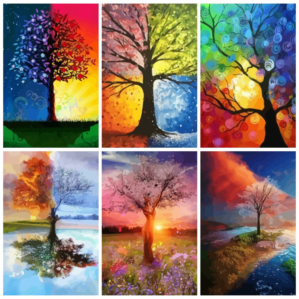 AZQSD Unframe Oil Painting By Numbers Set Tree DIY Handicraft Coloring By Numbers Landscape Acrylic Paint Home Unique Gift