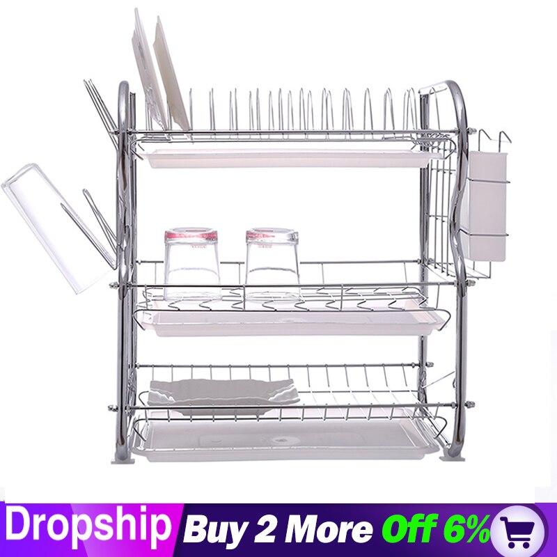 3-Tier Dish Drying The Goods For Kitchen Storage Rack Fridge Side Shelf  Layer With Wheels Bathroom Organizer Shelf Gap Holder