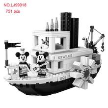 751Pcs Disney Blocks Steamboat Willie Mickey Minnie figures Toys For Children gift 21317