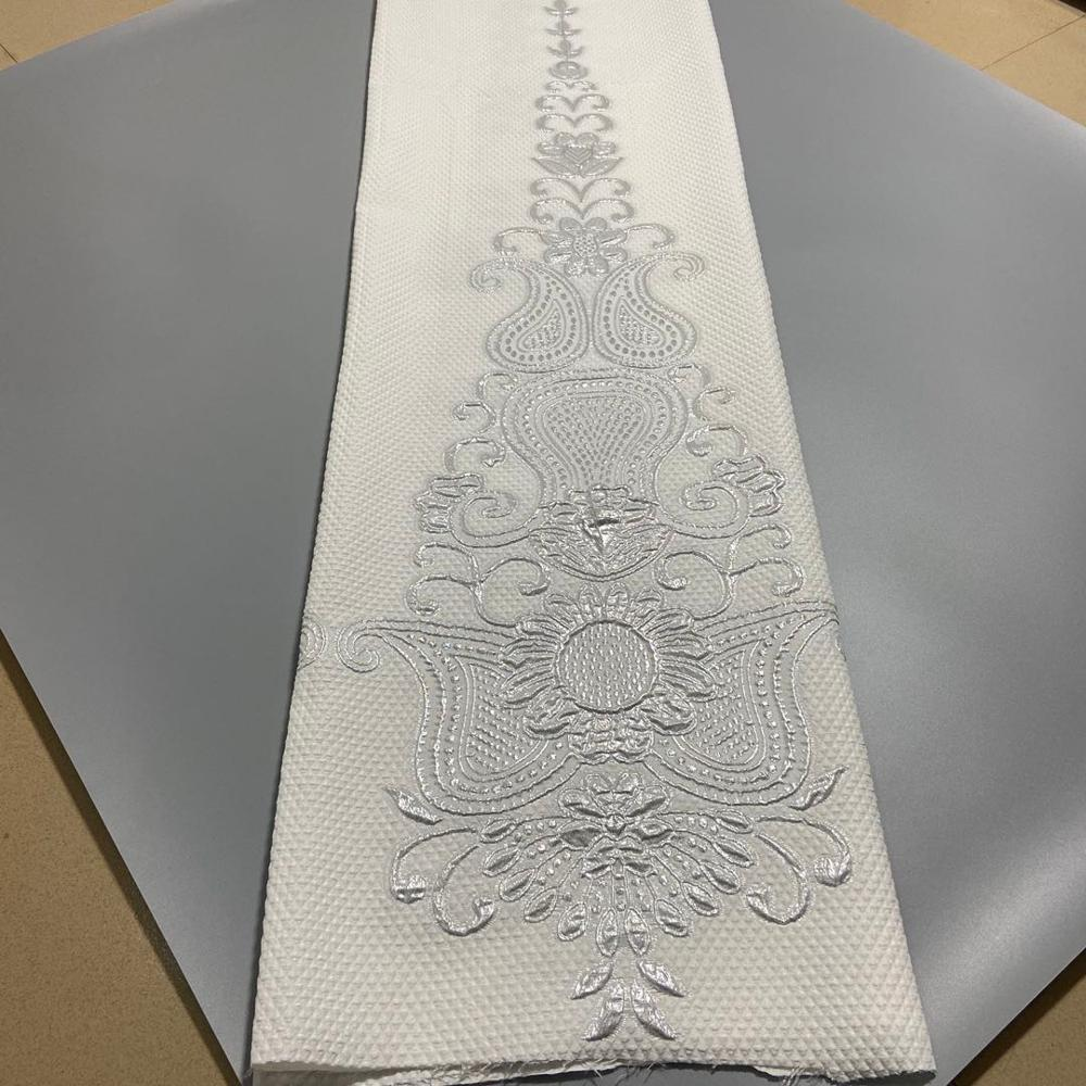 white Brocade Lace Fabric with new material African Jacquard Fabric  Best Quality Nigerian French Tulle Lace P872