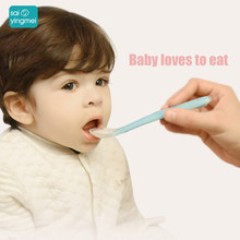 Baby Soft silicone Spoon Food Grade baby Feeding Spoons Safety Tableware Infant Learning Spoons for 4M-3Y baby(China)
