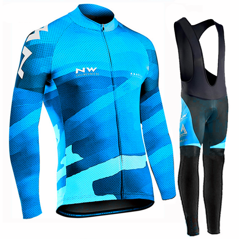 <font><b>Northwave</b></font> Pro Team <font><b>2019</b></font> Long Sleeve Breathable Cycling Jersey Set <font><b>NW</b></font> Clothing Men Suit Outdoor Sportful Bike SETS image