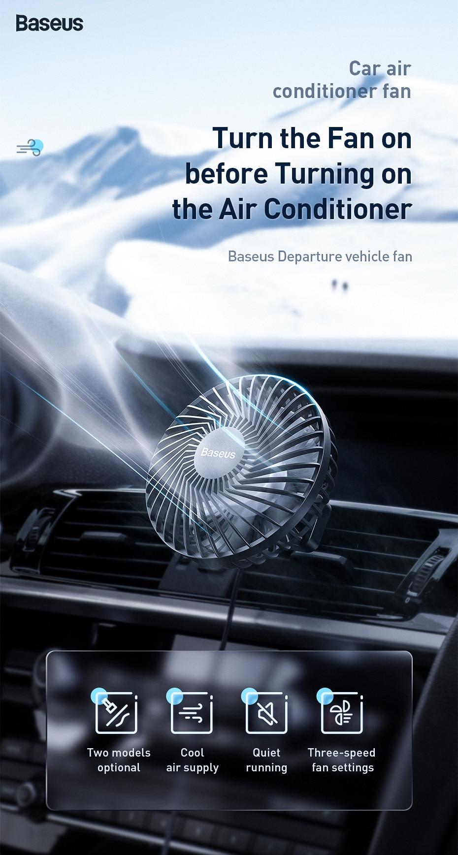 Baseus Air Vent Mounted USB Fan 3 Speed Air Cooling Fan For Car Air