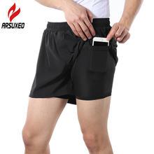 Мужские шорты для бега arsuxeo 2 в 1 с карманом телефона дышащие