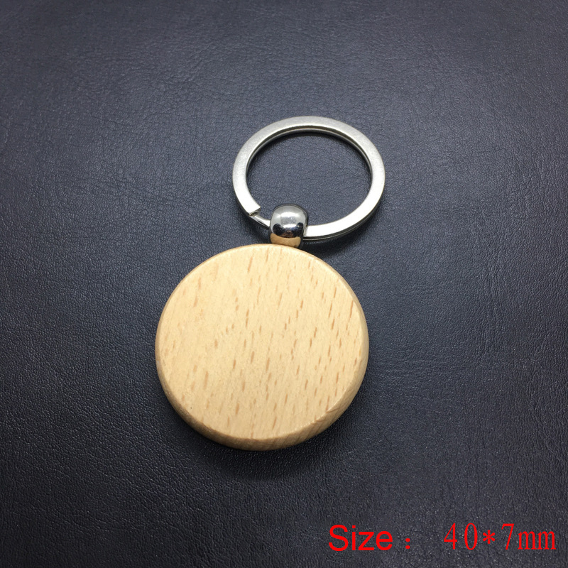 Wedding Gift Blank Round Rectangle Wooden Key Chain DIY Promotion Customized Wood Keychains Key Tags Promotional Gifts