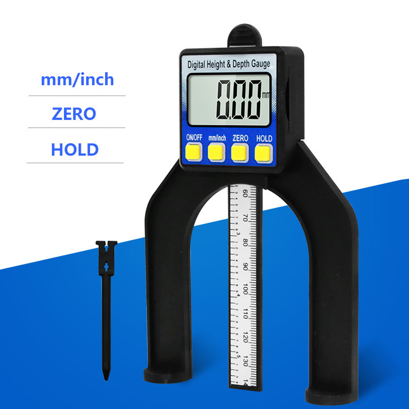 0-80mm LCD Digital Height Depth Gauge Digital Tread Depth Gauge Calipers With Magnetic Feet Tables Woodworking Measuring Tool