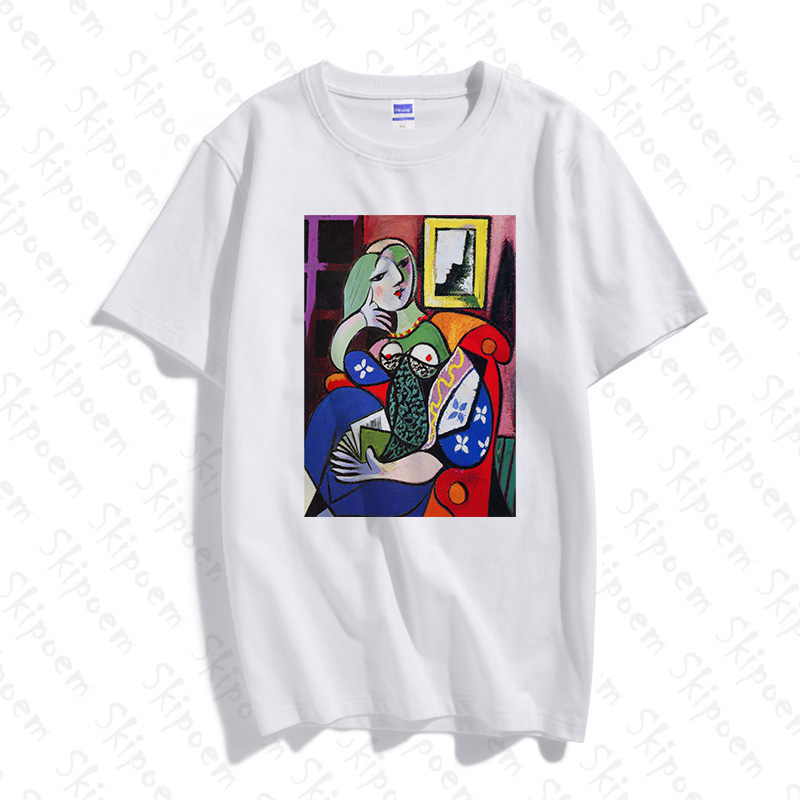 Picasso Women Abstract <font><b>Art</b></font> <font><b>Tshirt</b></font> Women Punk Korean Style Harajuku Tumblr Short Sleeve Plus Size Cotton Clothes Tee Shirt Femme image