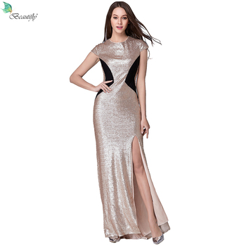 Beautifly Sexy Sequin Maxi Gowns Nude Gold&Black Split O-Neck Party Floor-Length Female Elegant Women's Prom Dresses