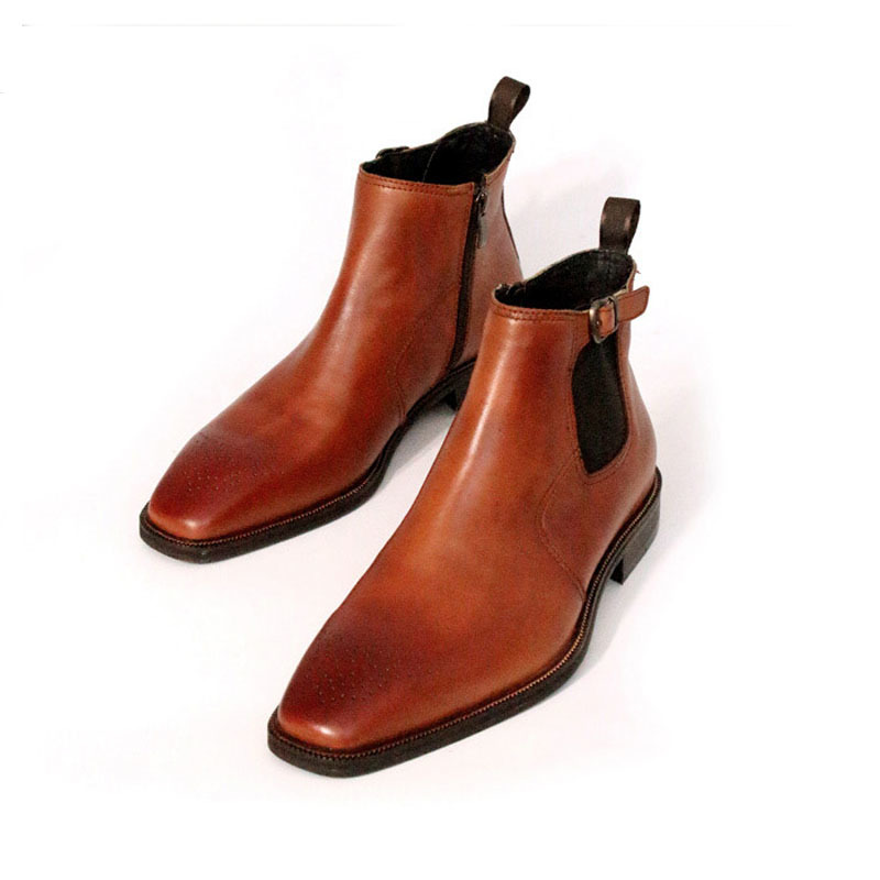 High Quality Handmade England Leather Masculine Boot Vintage Carved Square Head Brown Ankle Boots Men Design Gents Shoes 44 45
