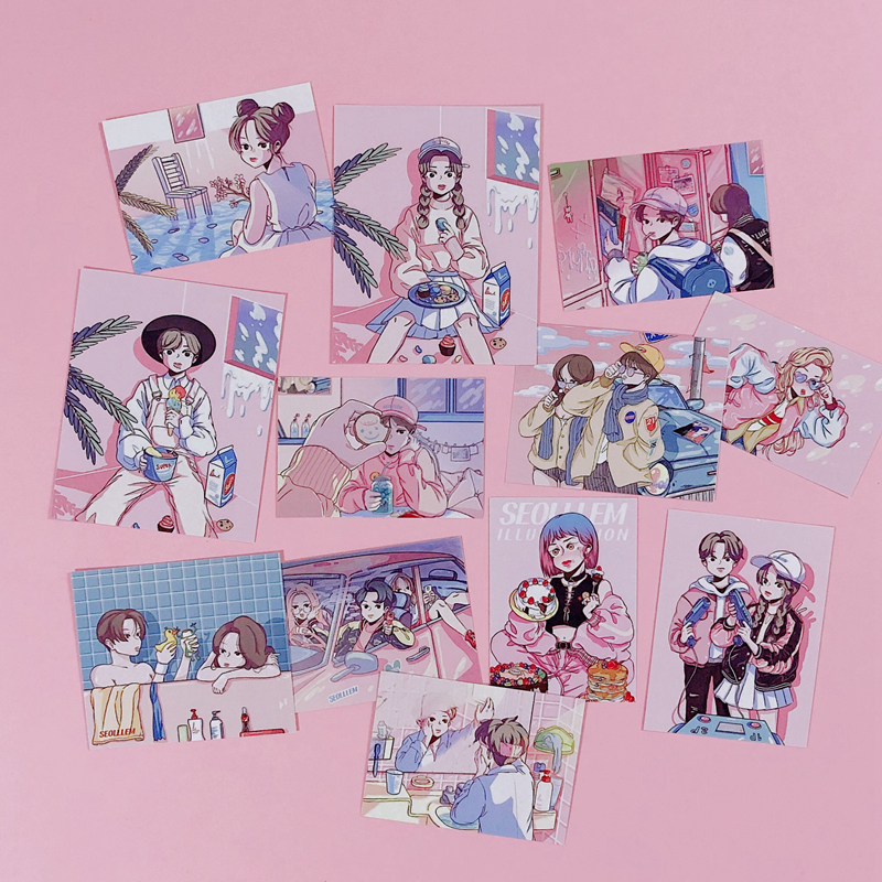 12pcs/pack Ins Hot Sale Couple Postcard Sticker Album Hand-decorated Stickers Office Learning Decoration Supplies Wall Sticker