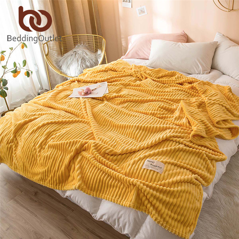 BeddingOutlet Blanket For Beds Solid Color Bedspread Striped Soft Flannel Fleece Blanket On The Sofa Warm Throw Blanket Dropship