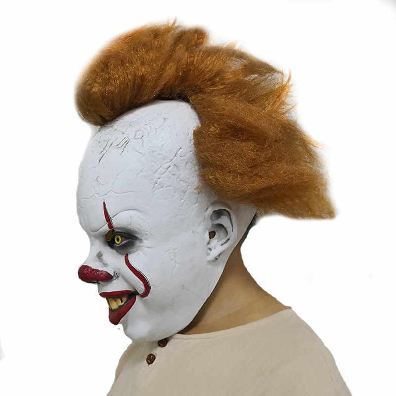 Halloween Maschera di Paura nuovo Stephen del Re Si Pennywise Pieno Viso Maschera In Lattice Cosplay Del Partito Pagliaccio Maschera Prop Joker indietro 2