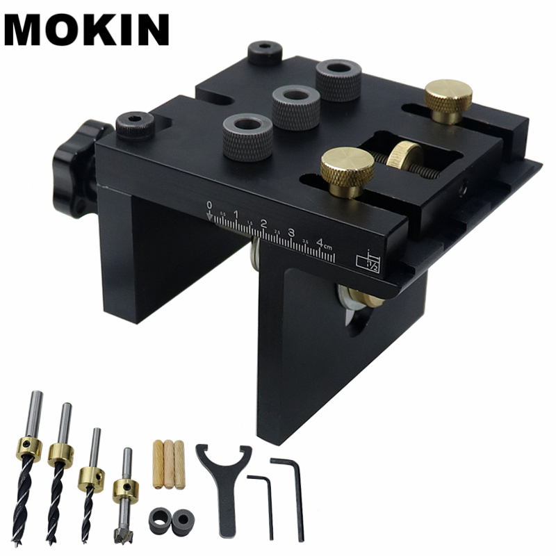 Multifunction Woodworking Doweling Jig Kit Adjustable Drilling Guide Puncher Locator For Furniture Connecting Carpentry Tools