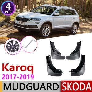 Image 1 - 4 PCS Front Rear Car Mudflaps for Skoda Karoq 2017 2018 2019 Fender Mud Guard Flap Splash Flaps Mudguards Accessories Mudguard