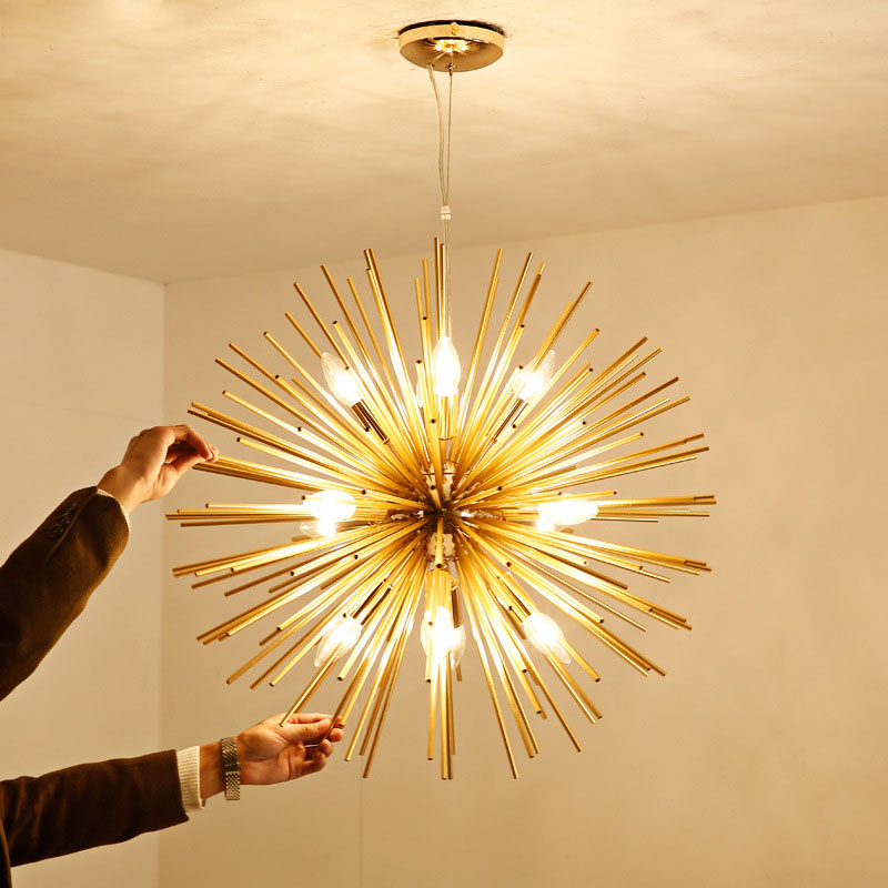 Modern <font><b>Pendant</b></font> <font><b>Lights</b></font> Golden Art LED <font><b>Pendant</b></font> Lamps Aluminum Dandelion Modeling Lighting for Living Room Bedroom Dining <font><b>Bar</b></font> Room image