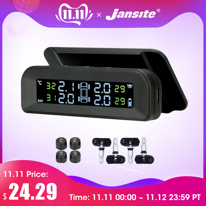 Jansite TPMS Car Tire Pressure Alarm Monitor System Real time Display Attached to glass wireless Solar power tpms with 4 sensors-in Tire Pressure Alarm from Automobiles & Motorcycles