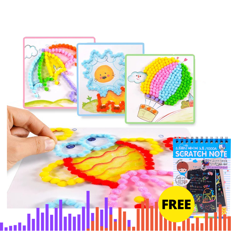 Kids Drawing Toys DIY Creative Hair Balls Paper Art Painting Kits Baby Early Educational Learning Toys Handmade Crafts Xmas Gift