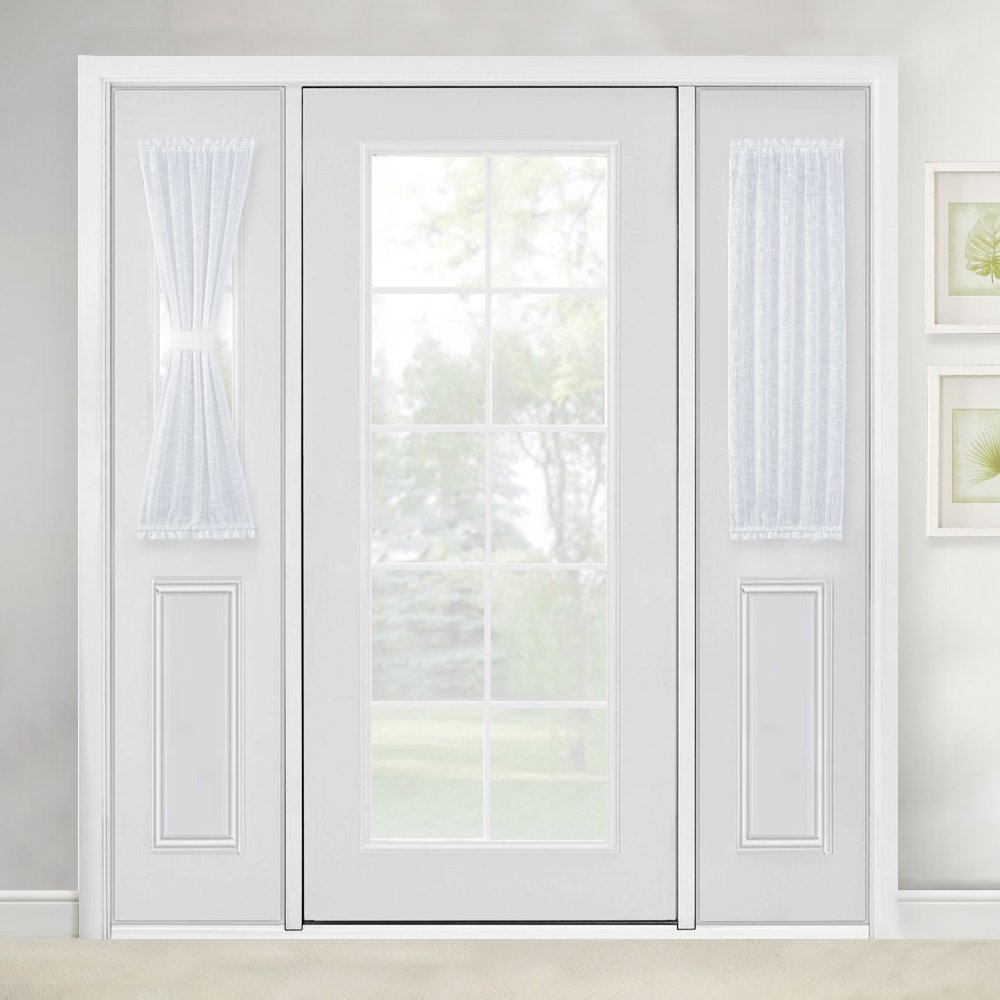 linen textured french glass door curtain white sidelight sheer curtain for front door with bonus tieback by nicetown 1 pair