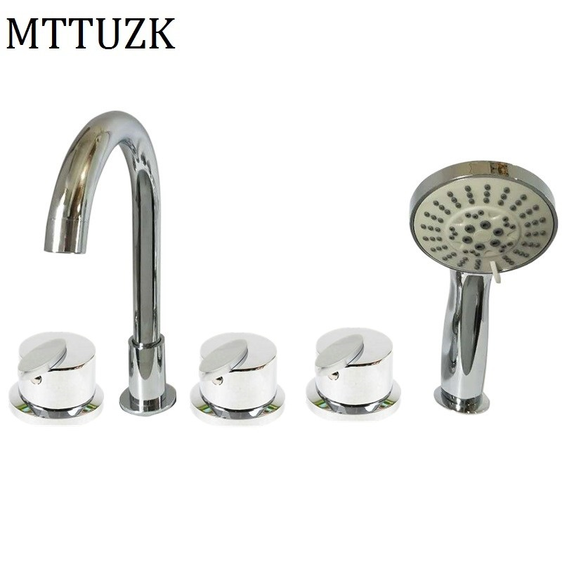 MTTUZK Cold and Hot Water Solid Brass Mixing Valve Tap Bathtub Faucet Mixer For Bathroom Jacuzzi Faucet 5PCS Sets