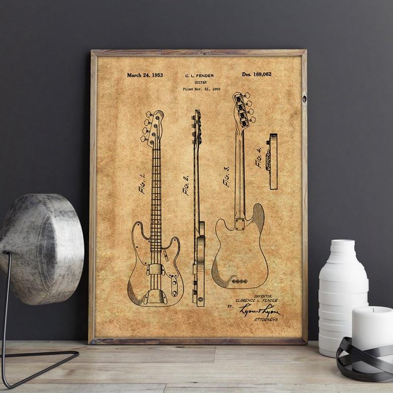 Cartel Vintage de bajo de precisión para defensa de guitarra, póster impreso, regalo de músico, pintura en lienzo, decoración para habitación de Arte de la pared Decoración