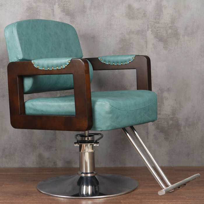 Hairdressing Chair Hair Salon Dedicated Lifting Adjustable Multi-function Barber Shop Barber Chair Retro Style Solid Wood Chair