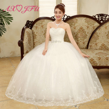 AXJFU beauty flower lace white wedding Dress vintage strapless sashes beading crystal sleeveless flower ball gown wedding dress