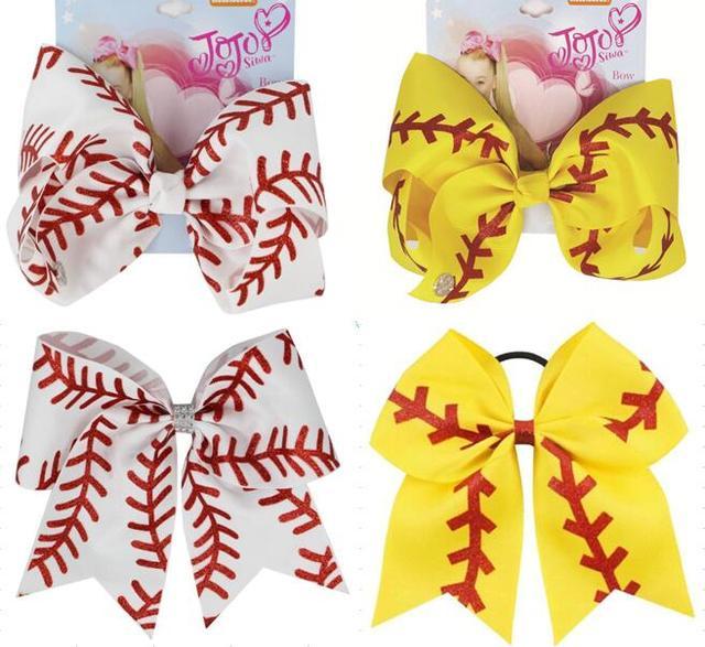 Yeni 7 inç saç yay softbol yaylar saç tokası ile Cheer bow beyzbol futbol voleybol dans elastik band abd 10 adet/