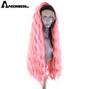 Image 5 - ANOGOL platine Blonde 613 cuivre rose synthétique dentelle avant perruque avec bébé cheveux longue vague deau haute température Futura Fiber perruque