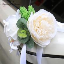 Creative Wedding Car Decor Hand Flower Car Door Handles Rearview Mirror Decorate Corner Florals Artificials Accessories Bouquet