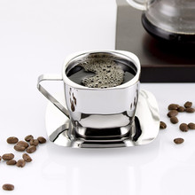 Stainless steel coffee cup double-layer anti-hot hand insulation double square set New