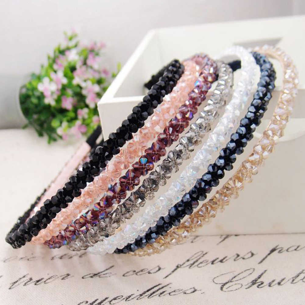 Shiny Crystal Beaded Hair Hoop Elegant Women Headband Headwear Adjustable Hairband Fashion Handmade Girls Hair Accessories