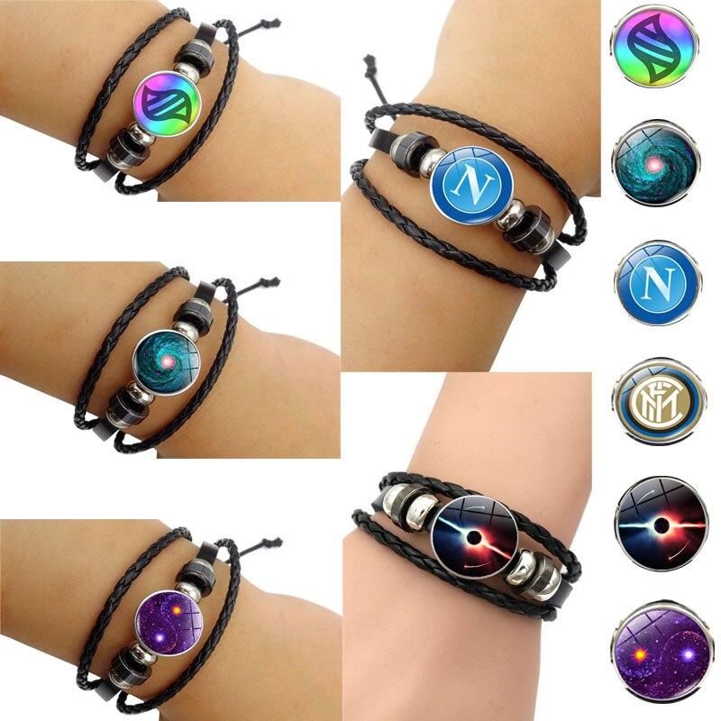 Nova chegada acessórios moda pulseira céu estrelado buraco negro letras pokemon vidro tampa redonda snap couro trançado pulseira
