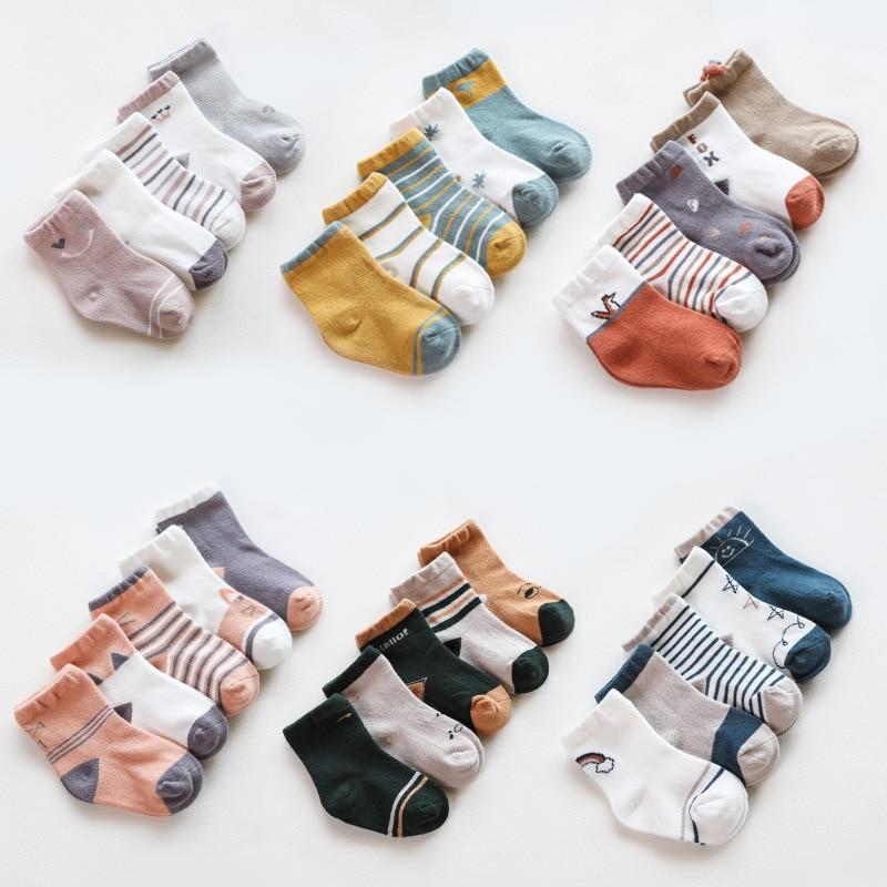 5 paires/lot bébé chaussettes automne bébé chaussettes pour filles coton nouveau-né dessin animé garçon bambin chaussettes bébé vêtements accessoires