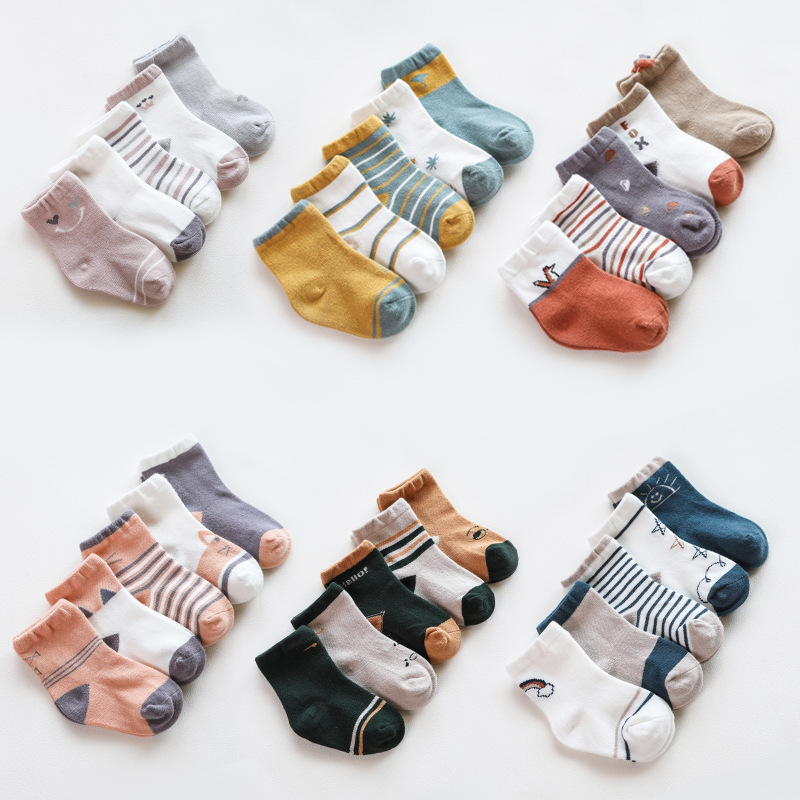 5Pairs/lot Infant Baby Socks Autumn Baby Socks For Girls Cotton Newborn Cartoon Boy Toddler Socks Baby Clothes Accessories