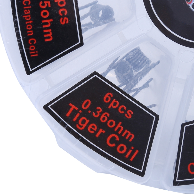 48Pcs/Set Pre Built Coils RTA RDA Flat Twisted Fused Clapton Quad Hive Alien Prebuilt Coils DIY Tools