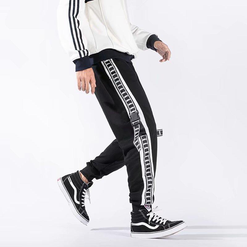 Autumn Hip Hop Pants Loose-Fit Sports Hip Hop Capri Pants Ankle Banded Pants National Trends Pants Collusion Joint Closing Pants