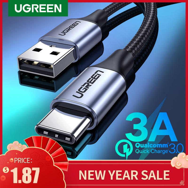 Ugreen usb tipo c cabo para samsung s10 s9 3a carregamento rápido usb tipo-c carregador cabo de dados para redmi nota 8 pro USB-C cabo de cabo