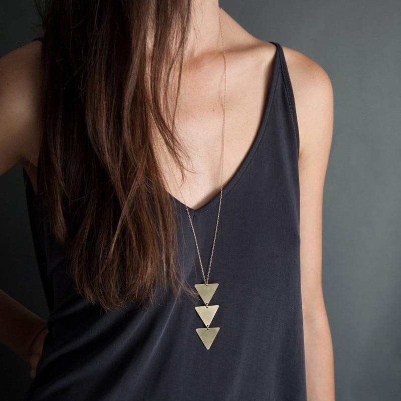 Женское Ожерелье с кулоном Adolph, винтажное треугольное длинное ожерелье-чокер, цепочка для свитера, 2019