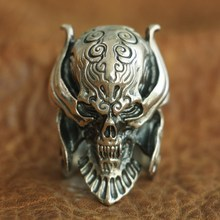 925 Sterling Silver Vampire Skull Ring Mens Biker Punk Ring US Size 7.5~10 r006 7 skull shaped stylish titanium steel ring silver us size 6