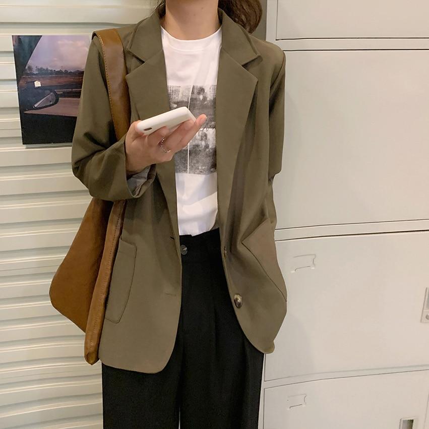 Женский жакет в Корейском стиле, повседневный короткий пиджак в стиле интернет-знаменитостей, весна 2021