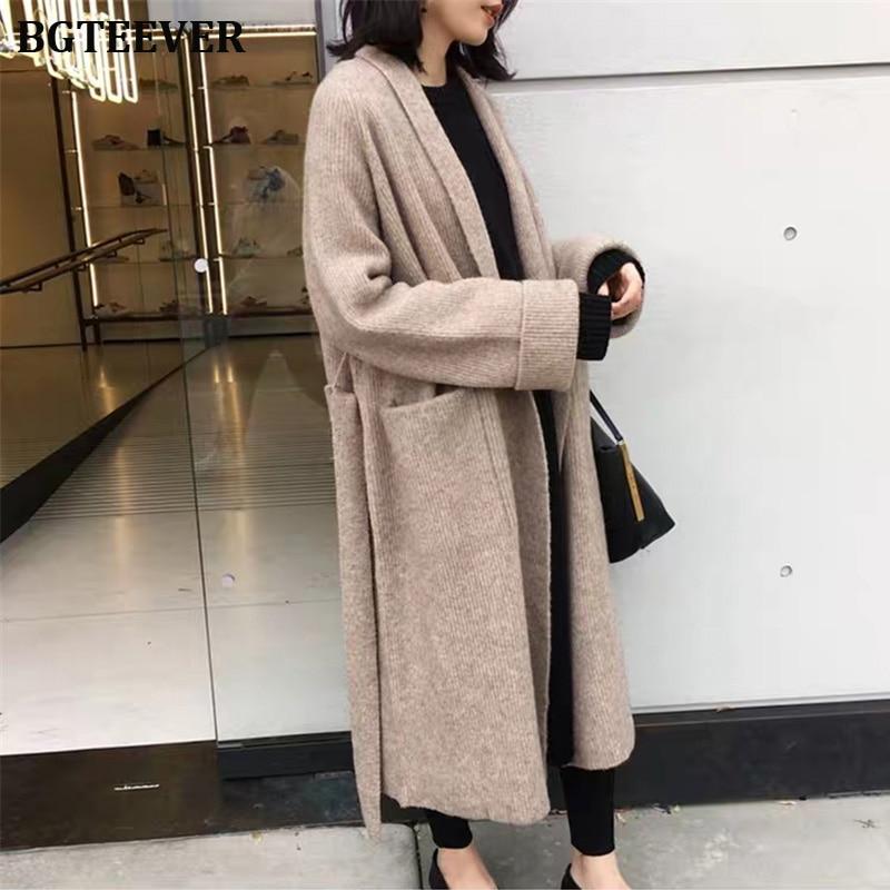 Winter Knitted Long Cardigan Women Long Sleeve Female Jumper Cardigan Casual Streetwear Lace Up Female Open Stitch Sweater 2019