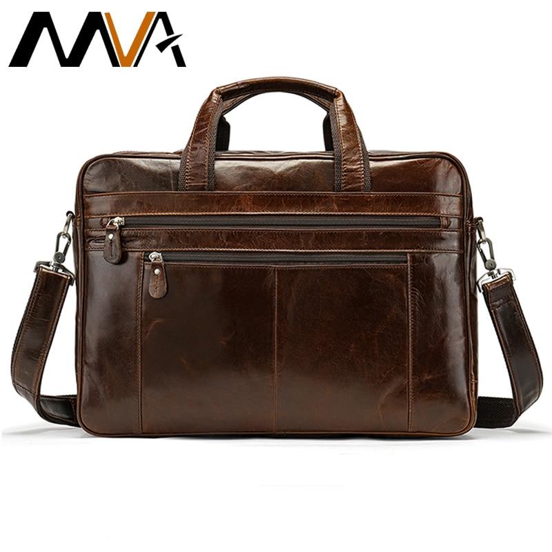 MVA Genuine Leather Bag Men's Briefcase Office Bags For Men Messenger Bag Laptop Business Leather Handbags Men Computer Bags