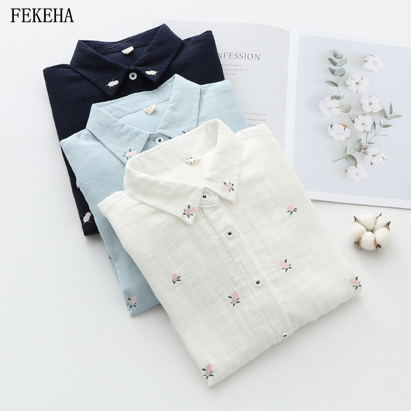 Floral Embroidery Women Office Shirts Autumn White Blouses Casual Ladies Tops Female Blusas Camisa Double Cotton Yarns Clothes