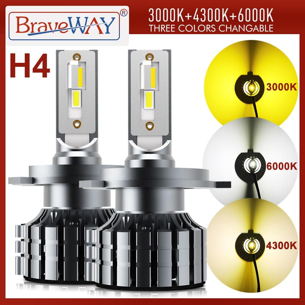 BraveWay 3000K + 4300K + 6000K H4 LED светодиодный головной светильник для автомобильных ламп H4 светодиодный Canbus Bi-светодиодный LED H4 светильник лампы 12V 12000LM...